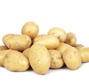 A mound of washed small salad potatoes