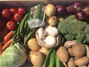 Top view of box containing local vegetables
