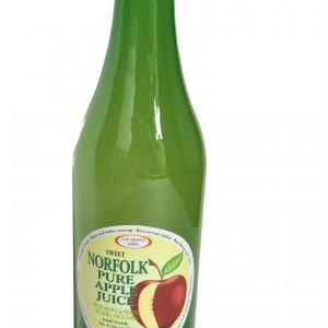 A Green glass bottle of apple juice.