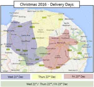 Plan of deliveries areas for Christmas week