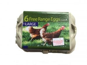 A closed box of large free range eggs