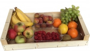 wooden box containing fresh fruit