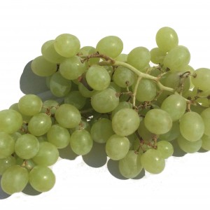 A bunch of pale green grapes