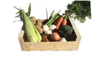 wooden box containing local vegetables