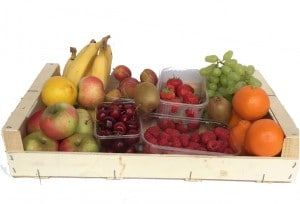Wooden Box containing a variety of fresh fruit