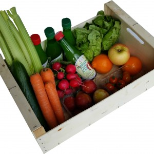 Box containing Carrots, Salad, Fruit and Apple Juice