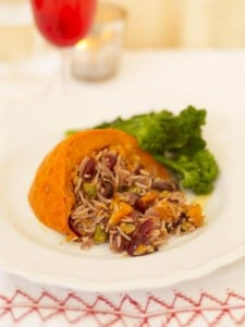Baked Pumpkin stuffed with rice and vegetables.
