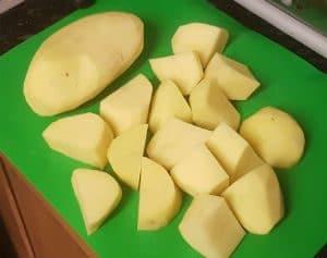 Chunked raw roast potato